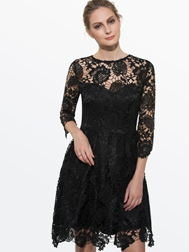 Pullover Half Sleeve Expansion Lace Dress