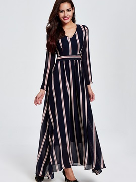 Vertical Striped V-Neck Empire Waist Maxi Dress