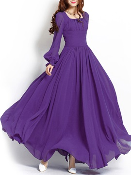 Solid Color Long Sleeve Maxi Dress