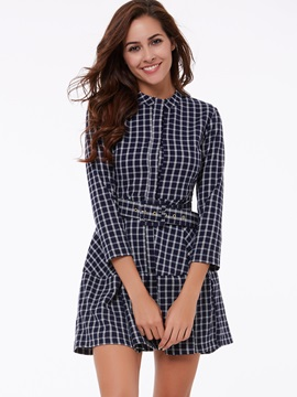 Plaid Nine Points Sleeve Belt Day Dress