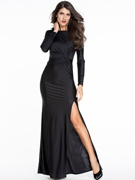 Solid Round Neck Backless Ruffled Maxi Dress