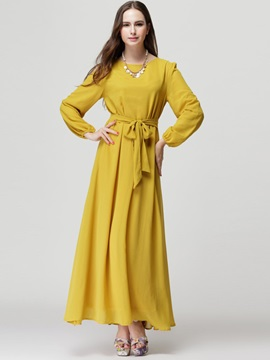 Solid Long Sleeve Lace-Up Ethnic Maxi Dress