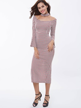 Plaid Chic Round Neck Flare Sleeve Maxi Dress