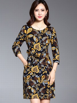 Floral Print Round Neck Lace-Up Day Dress