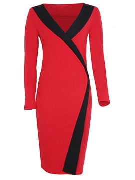 Color Block V-Neck Work Dress
