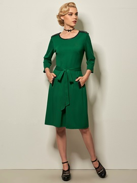 Solid 3/4 Sleeve Lace-Up Day Dress