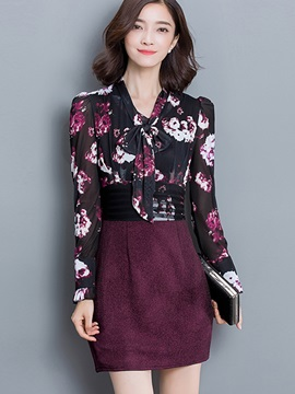 Floral Print Patchwork Bowknot Day Dress