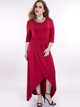 Solid 3/4 Sleeve High-Low Maxi Dress