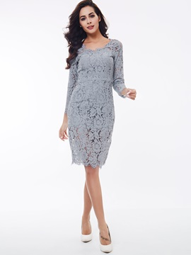 Chic Round Neck Nine Points Sleeve Lace Dress