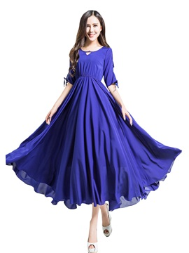 Solid Half Sleeve Hollow Expansion Maxi Dress