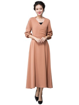 Plain V Neck Long Sleeve Maxi Dress