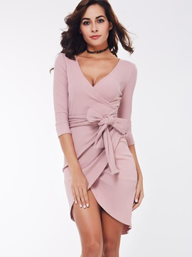 Solid V-Neck Lace-Up Bodycon Dress