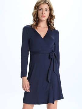 Solid V-Neck Lace-Up Day Dress