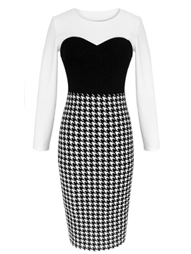 Houndstooth Patchwork Long Sleeve Work Dress