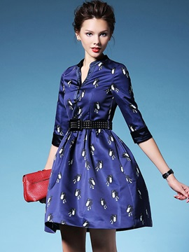 Cartoon Stand Collar Belt Day Dress