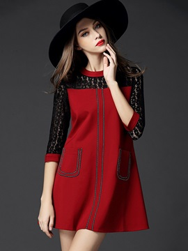 Color Block 3/4 Sleeve Patchwork Day Dress