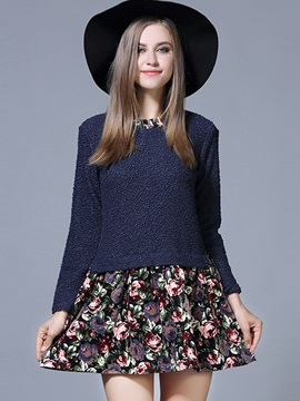 Floral Print Round Neck Patchwork A-Line Day Dress