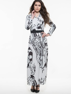 Floral Print Lapel Empire Waist Maxi Dress