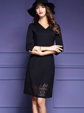 Solid Color V-Neck Hollow Bodycon Dress