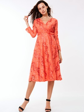Flare Sleeve Lace-Up A-Line Day Dress