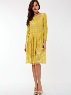 Nine Points Sleeve A-Line Lace Dress