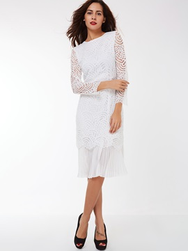 Long Sleeve Patchwork Mermaid Lace Dress