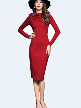 Solid Color Bowknot Mid-Waist Work Dress