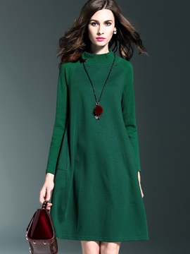 Solid Color Stand Collar Shift Dress