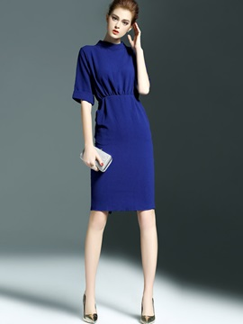 Solid Stand Collar Half Sleeve Bodycon Dress