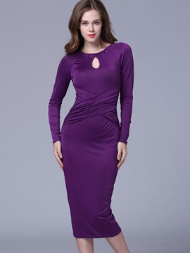 Solid Color Hollow Round Neck Work Dress