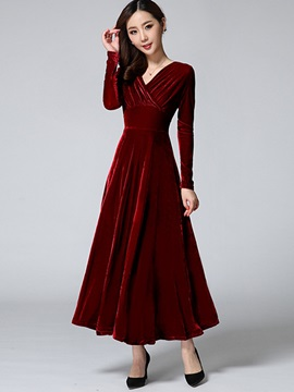 Solid V-Neck Pleated Maxi Dress