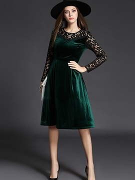 Color Block Lace Patchwork Day Dress