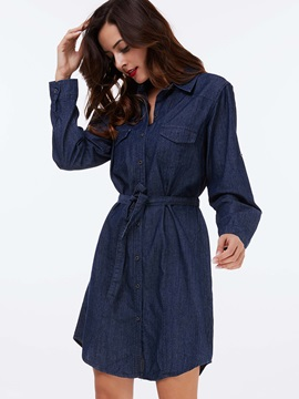 Single-Breasted Pocket Lace-Up Day Dress