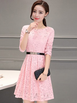 Solid Color Hollow Belt Lace Dress
