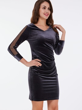 Nine Points Sleeve Patchwork Zipper Bodycon Dress