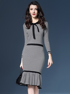 Vertical Striped Bowknot Mermaid Bodycon Dress