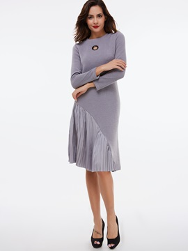 Round Neck Pleated Patchwork Day Dress