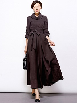 Turtleneck Pleated Lace-Up Maxi Dress