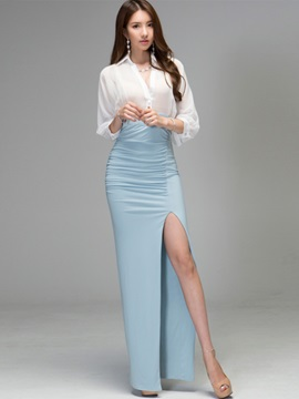 Lapel Single-Breasted Pleated Maxi Dress