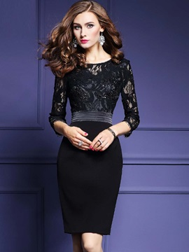 Bead Lace Patchwork Bodycon Dress