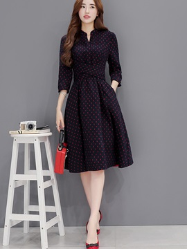 Polka Dots V-Neck Pocket Skater Dress