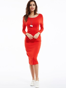 Round Neck Long Sleeve Plain Bodycon Dress