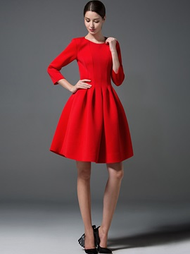 Solid Color Nine Points Sleeve Expansion Skater Dress