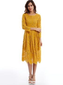 Floral Print 3/4 Sleeve Round Neck Lace Dress