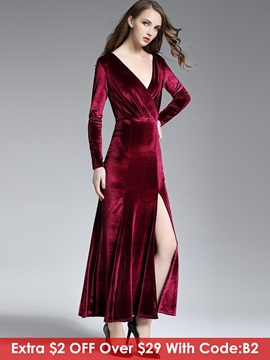 V-Neck Solid Color Split Maxi Dress