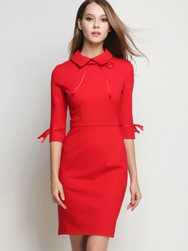 Peter Pan Collar Lace-Up Solid Color Bodycon Dress