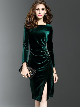 Pure Color Round Neck Long Sleeve Bodycon Dress