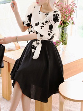 Embroidered Long Sleeve Chiffon Skirt Suit
