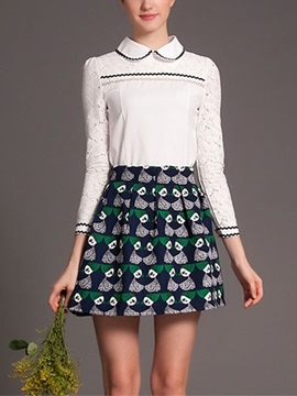Vogue Lace Patchwork Top & Printing Skirt Outfit