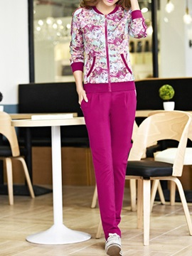 Multicolor Printing Jacket & Solid Color Pant
